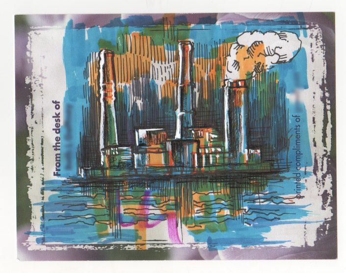 Post-It Note Illustration - Duke Power Plant