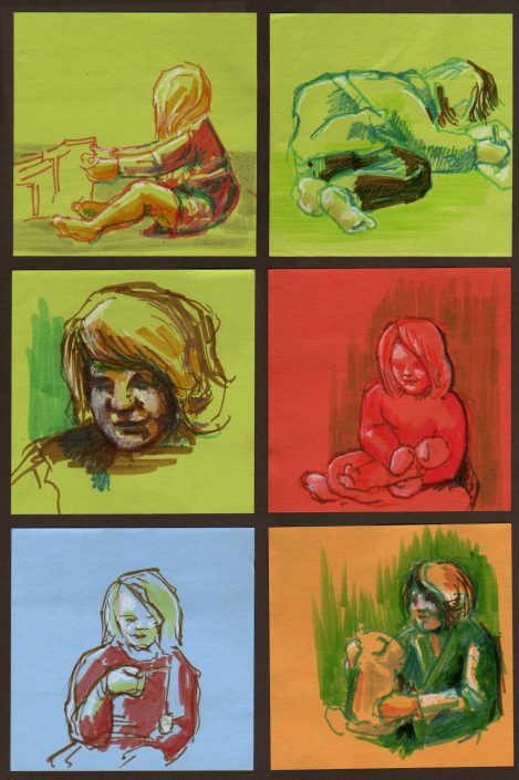 Post-It Note Illustrations - Christmas Morning