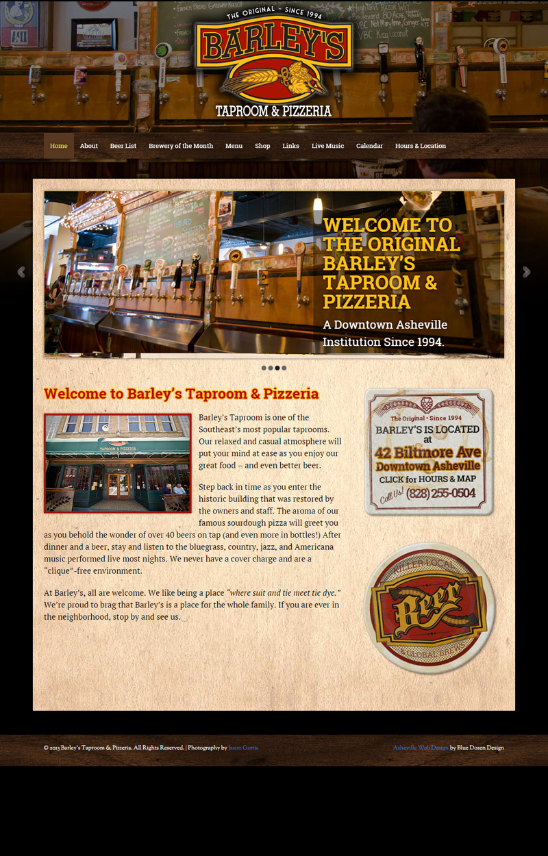 Web Design & Development for Barley's Taproom