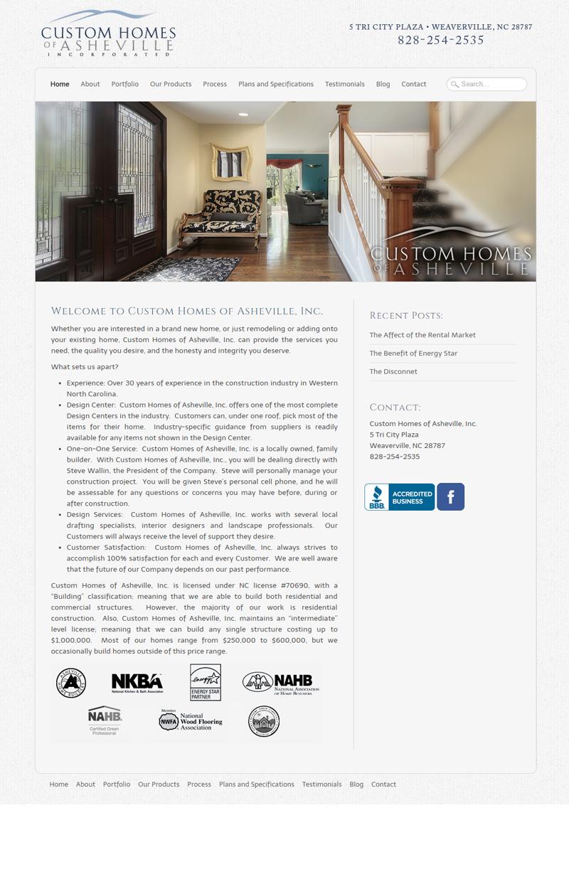 Web Design for Custom Homes of Asheville