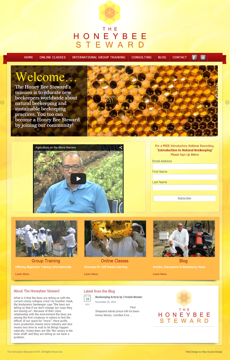 WordPress Site Design for Honey Bee Steward Asheville