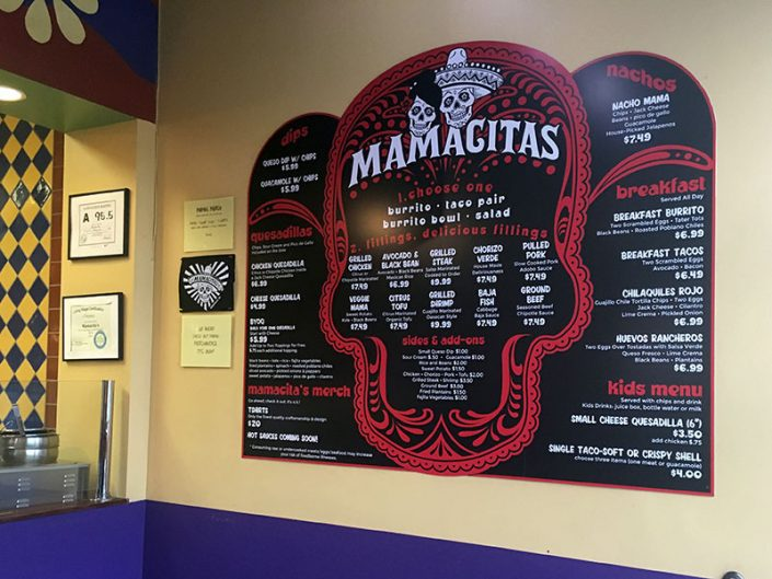 Menu Board Design for Mamacita's Asheville NC