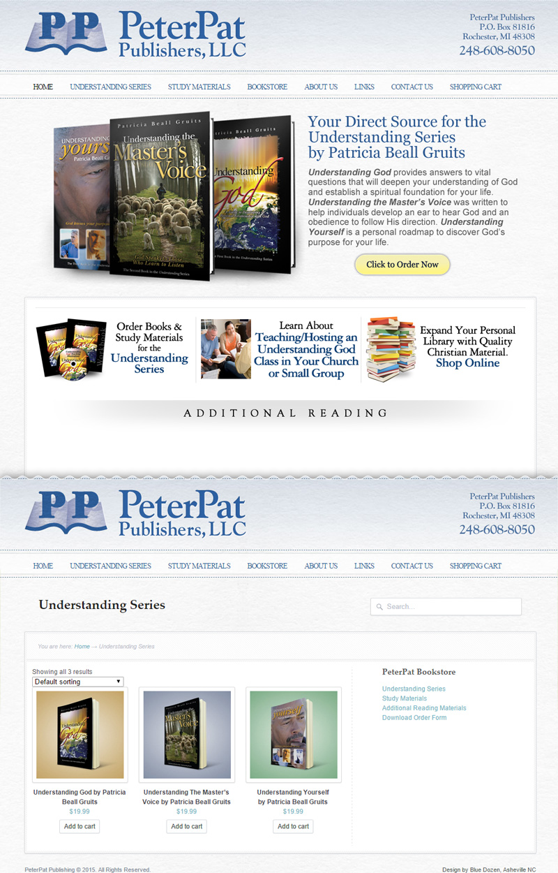 Web Design for Peter Pat Publishing