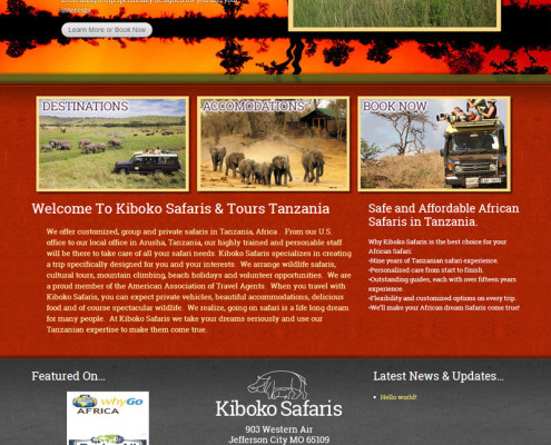 Web Design for Kiboko Safaris