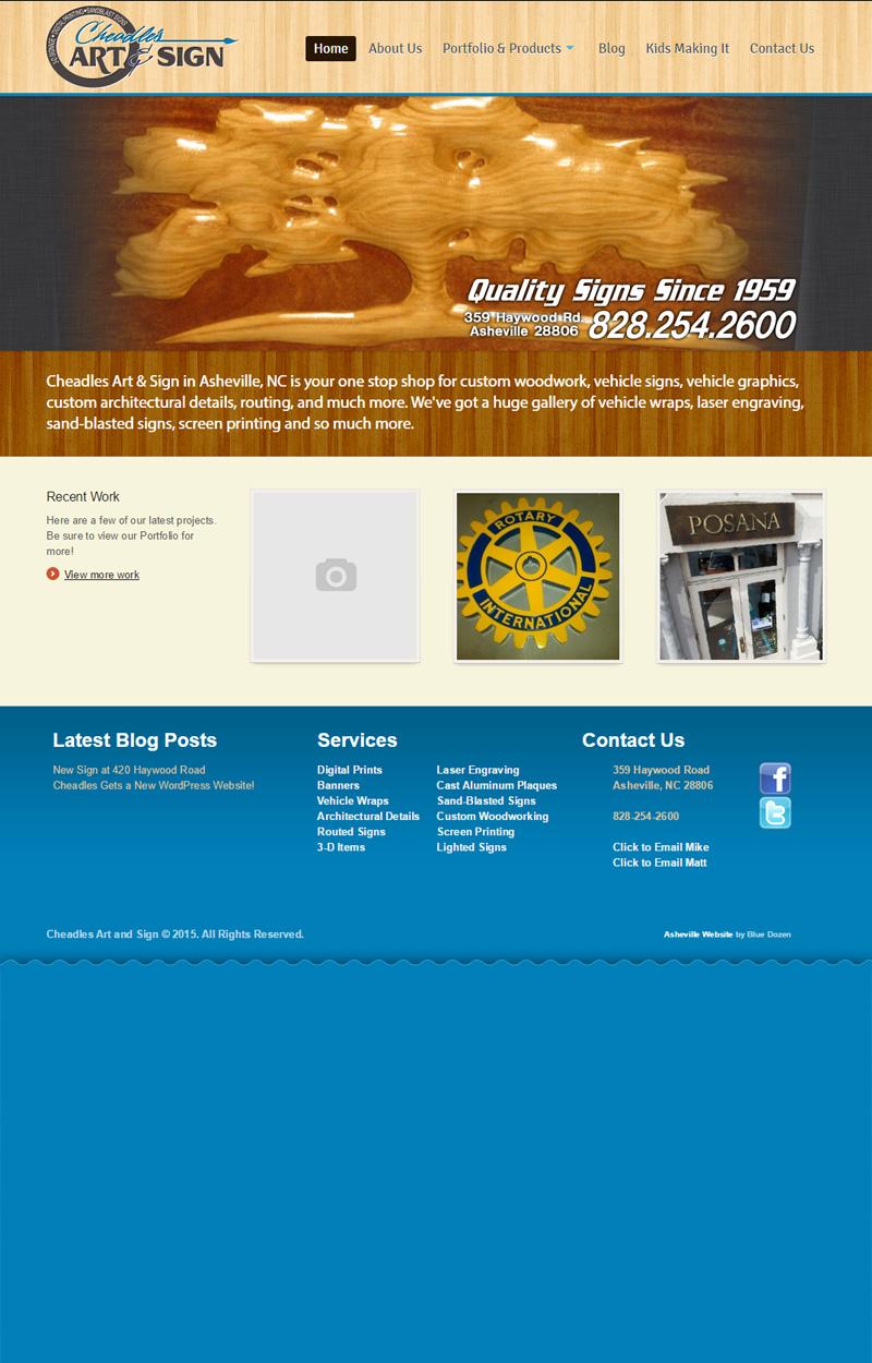 Web Design for Cheadle's in Asheville