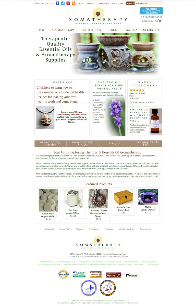 Web Design for Dreaming Earth Botanicals