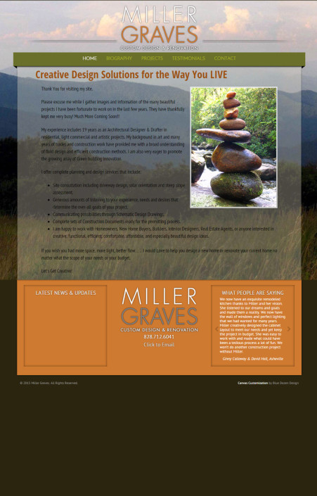 Web Design for Miller Graves Custom Design & Renovation