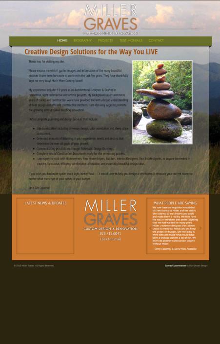 Web Design for Miller Graves Custom Design & Renovation