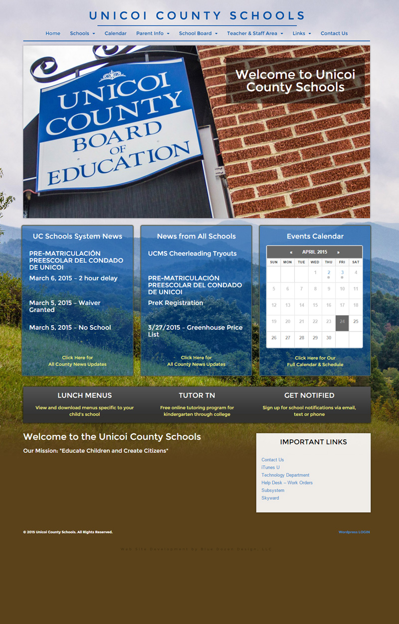 Web Design for Unicoi County Schools