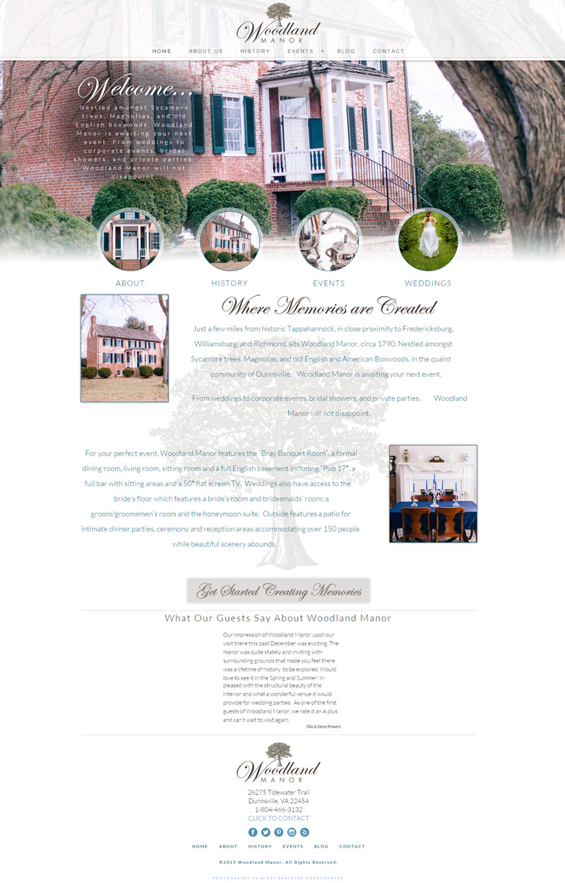 Web Design for Woodland Manor