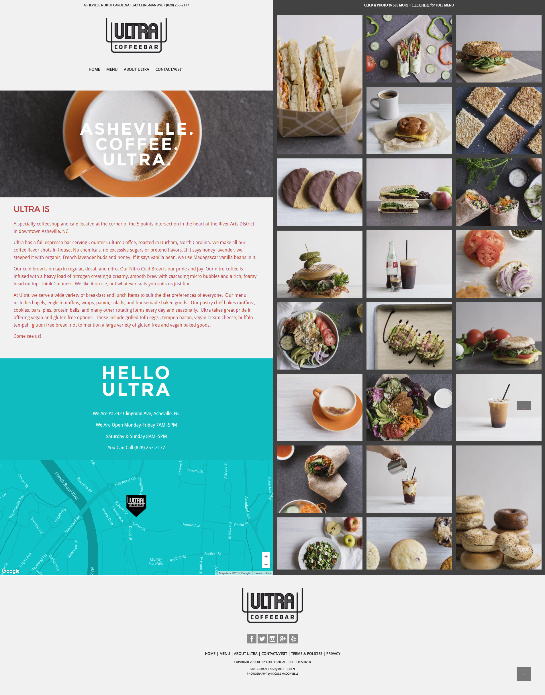 Website Design for Ultra Coffeebar, Asheville NC