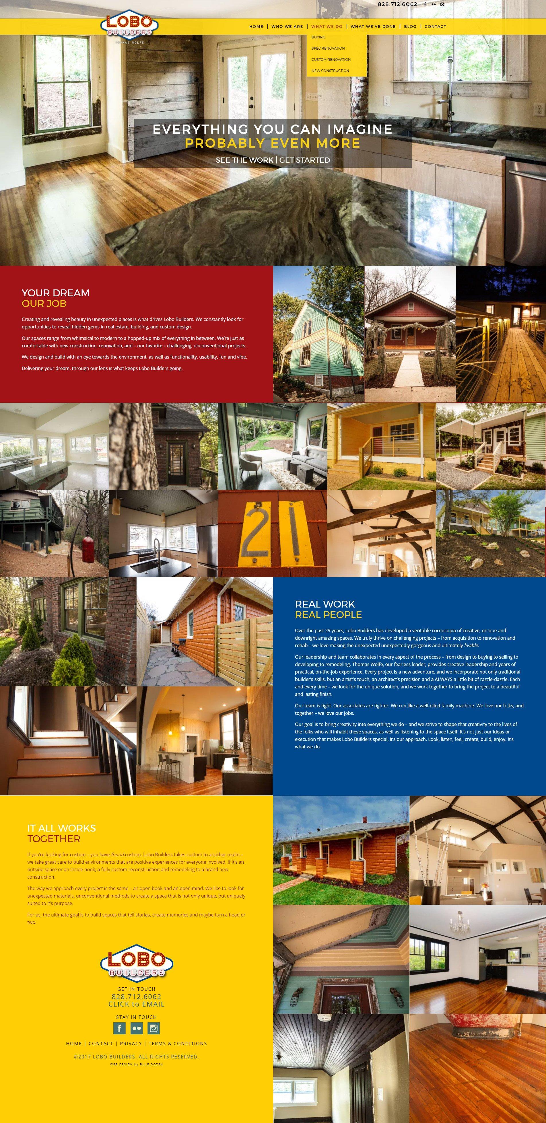 Web Design for Lobo Builders, Asheville NC
