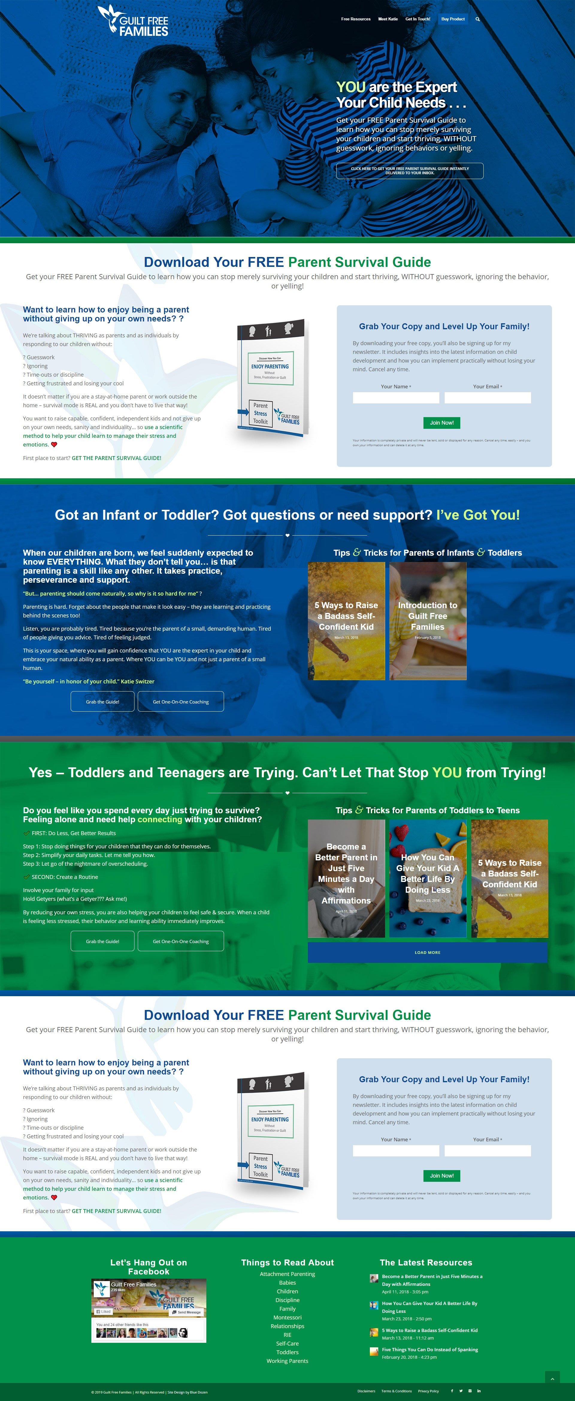 Guilt Free Families Website Design