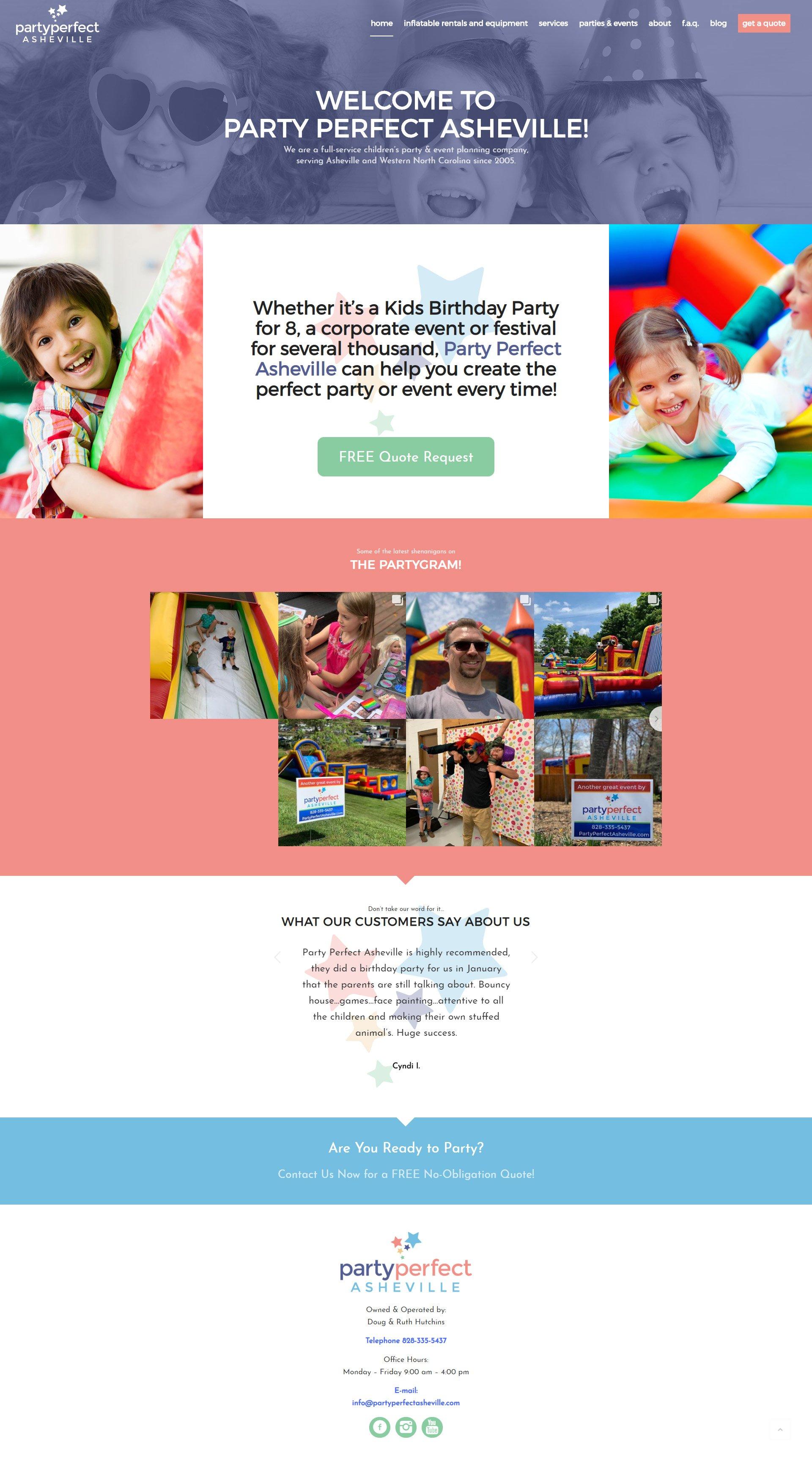 Party Perfect Asheville Web Design